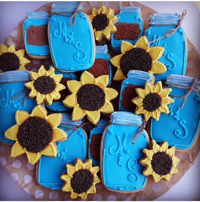 sunflowers mason jars cookies